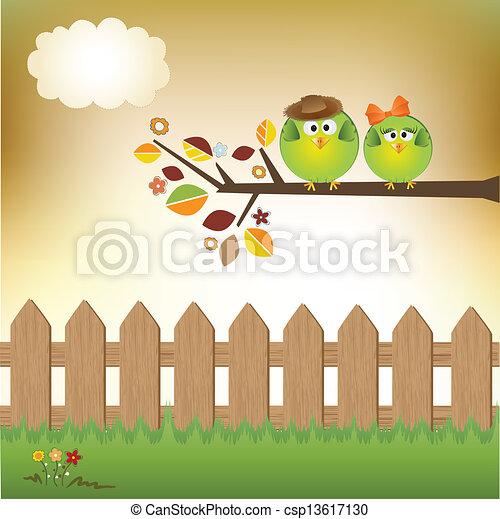 Birds couple in love - csp13617130