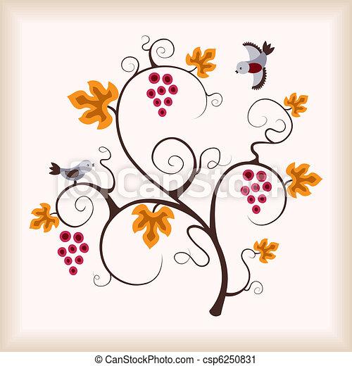 Viña de uva y pájaros. - csp6250831