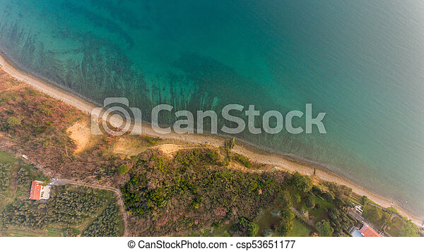 Bird's eye view of coastal resort. - csp53651177