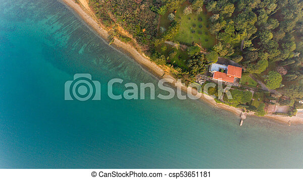 Bird's eye view of coastal resort. - csp53651181