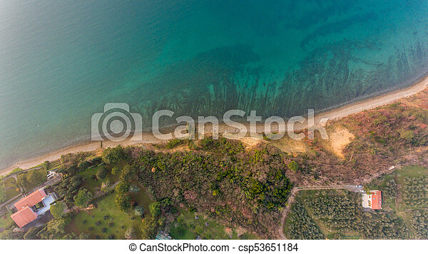 Bird's eye view of coastal resort. - csp53651184