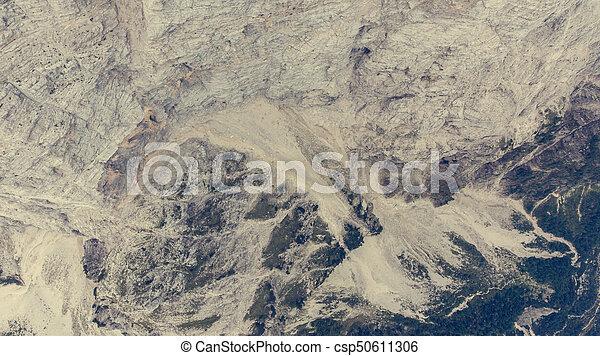 Bird's eye view of mountain ridge leading into deep gap. - csp50611306