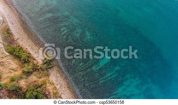 Bird's eye view of sea shore. - csp53650158