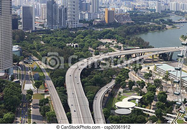 Bird's eye view of Singapore - csp20361912