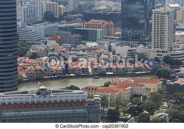 Bird's eye view of Singapore - csp20361902