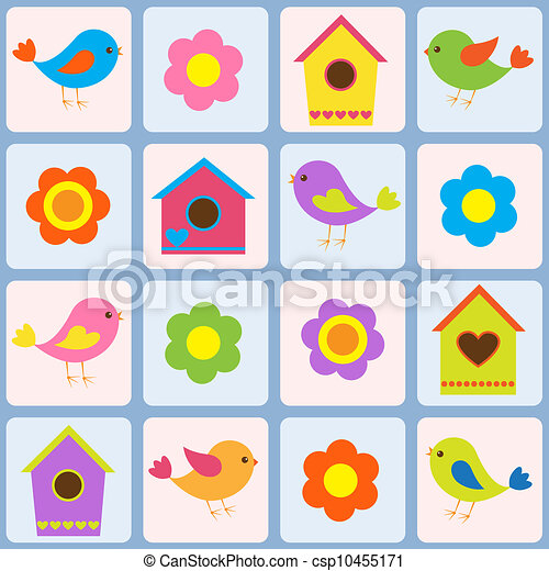 Birds, flowers and birdhouses. Seamless vector pattern - csp10455171