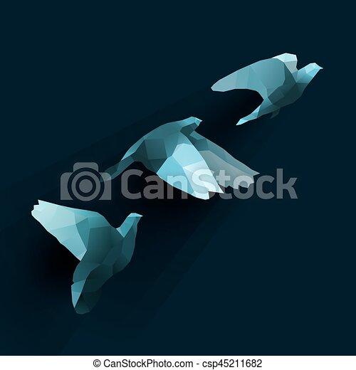 birds fly tree blue - csp45211682