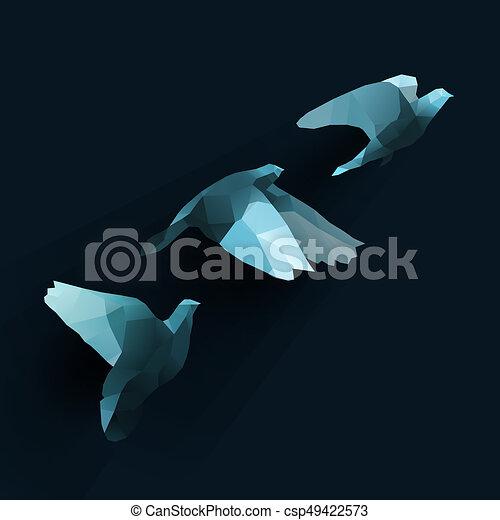 birds fly tree blue - csp49422573