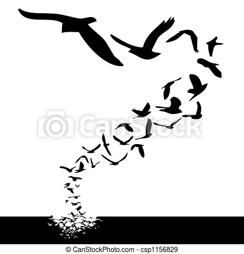 Lot Of Birds Flying Silhouette Style Illustration