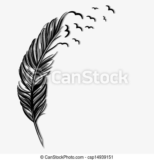 Birds flying ot of a quill - csp14939151
