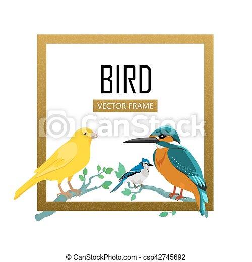 Birds Frame Flat Design Vector Illustration - csp42745692