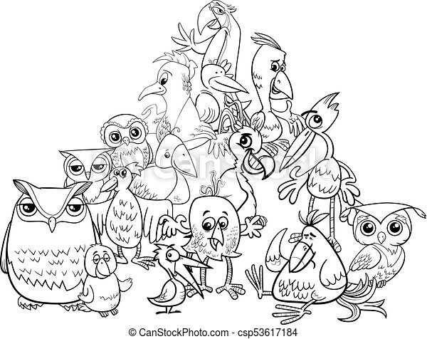 birds group cartoon illustration coloring book