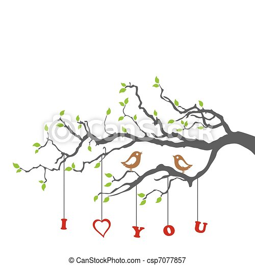 Birds in love on a tree branch - csp7077857