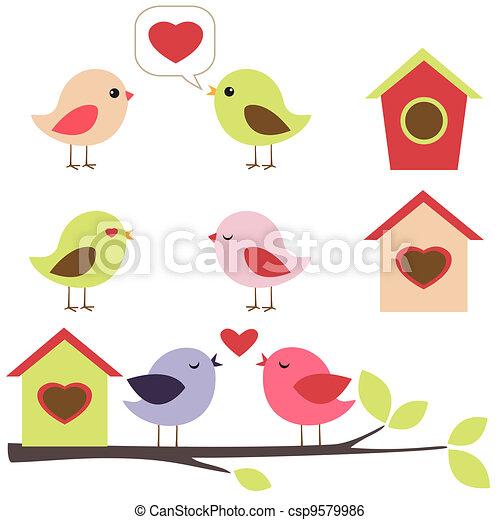 Birds in love set - csp9579986