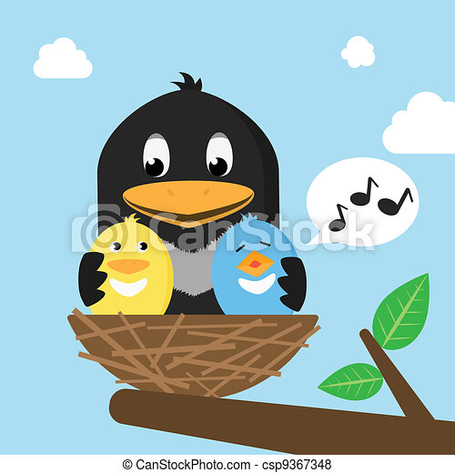 Birds In The Nest - csp9367348