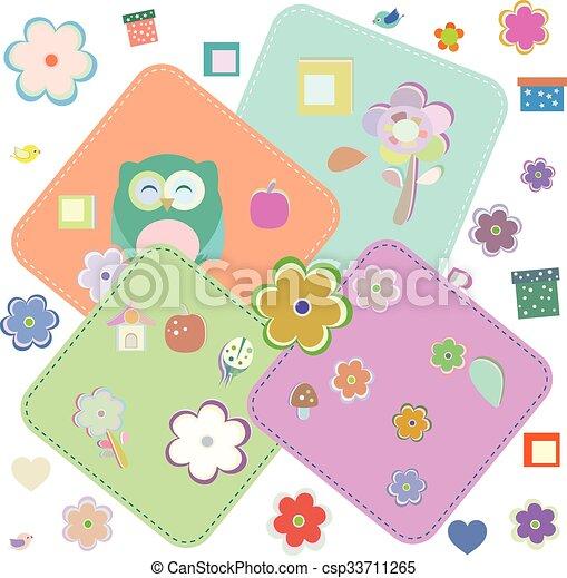 Elementos de fiesta de cumpleaños con lechuzas y pájaros monos. Ilustración de vectores - csp33711265