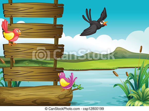 Birds near a blank wooden signage - csp12800199