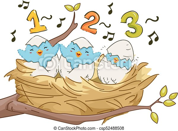 Birds Nest Sing 123 Illustration - csp52488508