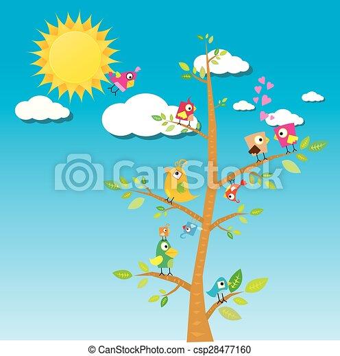 birds on branch. cartoon summer illustration. - csp28477160