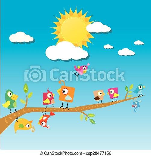 birds on branch. cartoon summer illustration. - csp28477156