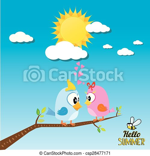 birds on branch. cartoon summer illustration. - csp28477171