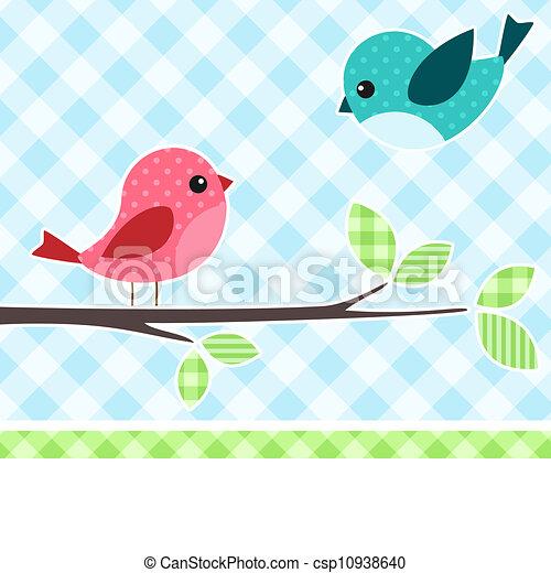 Birds on branch - csp10938640