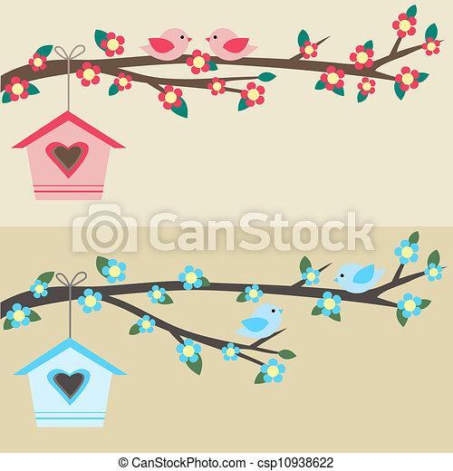 Birds on branch - csp10938622