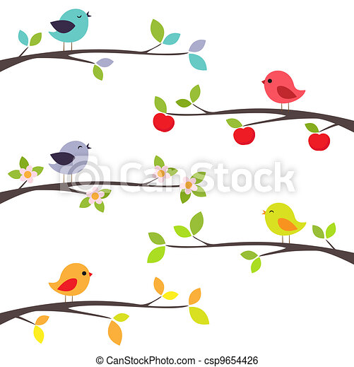 Birds on branches - csp9654426