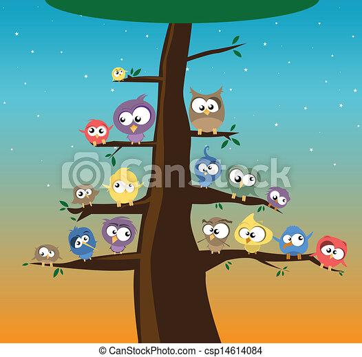 birds on branches - csp14614084