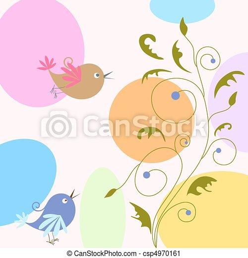 birds on floral background - csp4970161