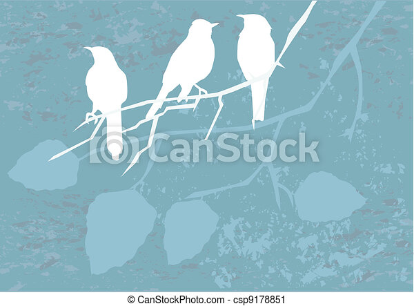 birds on grunge - csp9178851