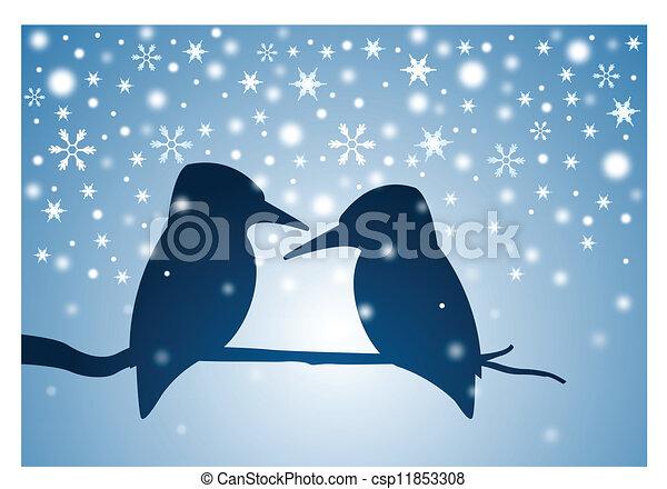 Birds on the branch in winter - csp11853308