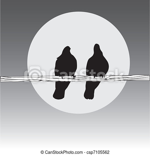 Birds on the wire. couple on the grey background.