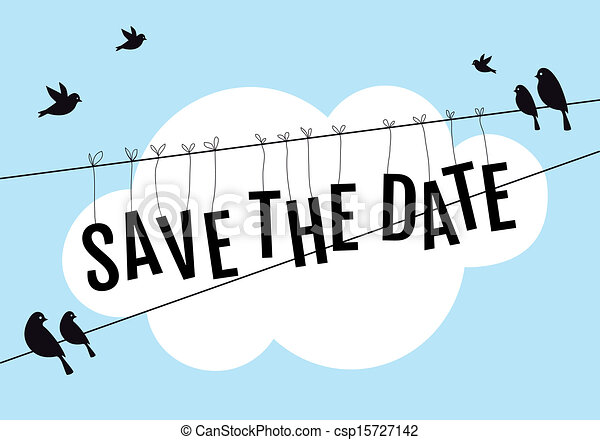 Birds on wire in blue sky, vector. Save the date, birds sitting on ...