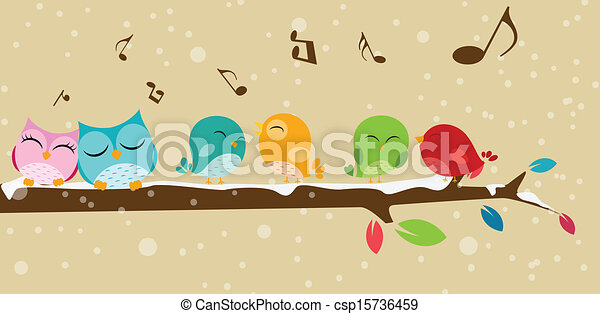 Birds singing on the branch  - csp15736459