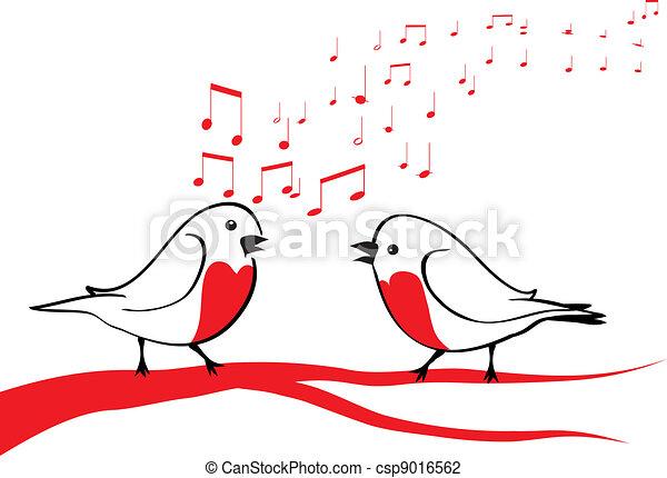 Birds singing on the tree branch  - csp9016562