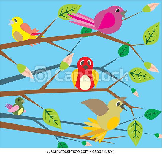 birds singing - spring - csp8737091