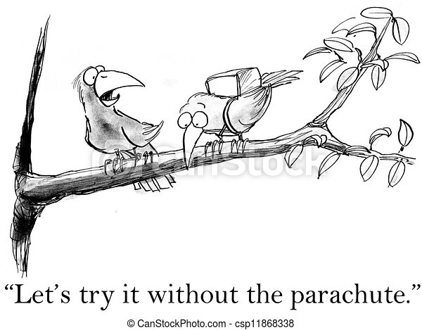 Birds try flying without a parachute - csp11868338