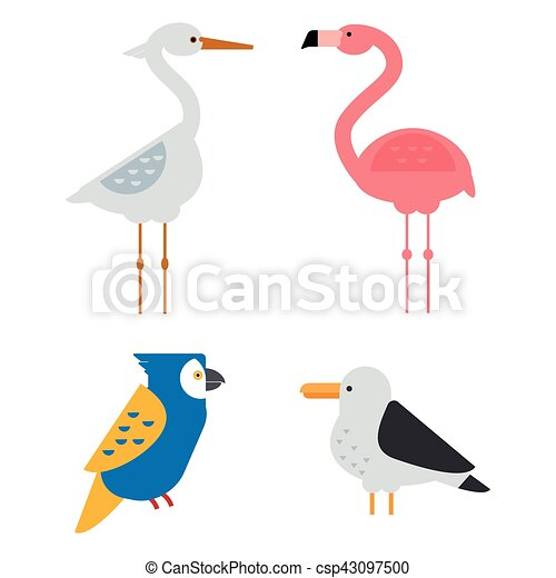 Birds vector set illustration isolated - csp43097500