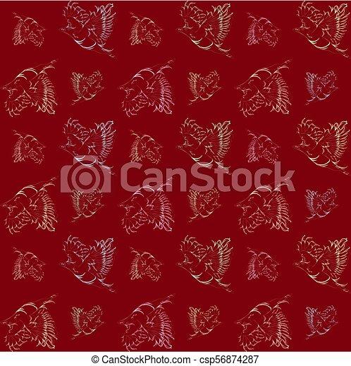 Antecedentes rojos vector con aves de neón de color antiguo. - csp56874287