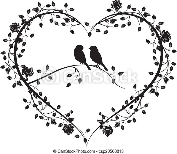 birds with a heart of flowers 4 - csp20568813