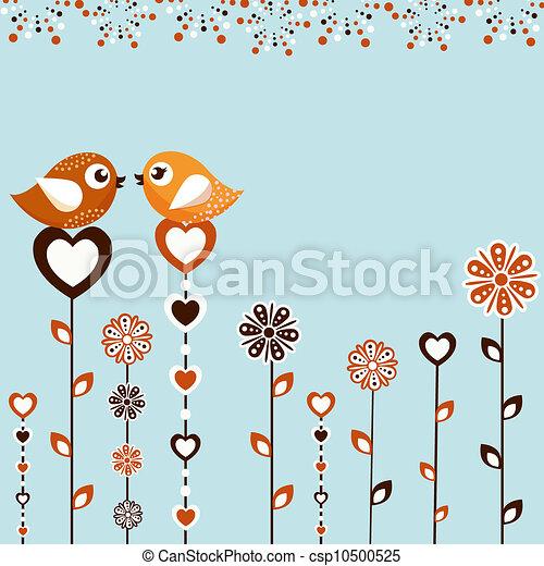 Birds with flowers - csp10500525