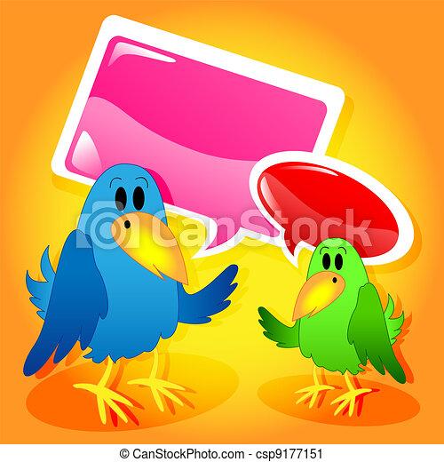 Birds with speech bubbles - csp9177151