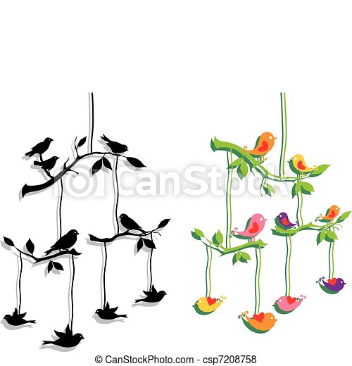 birds with tree branch, vector - csp7208758