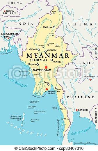 Myanmar Burma Politische Karte Myanmar Politische Karte Mit