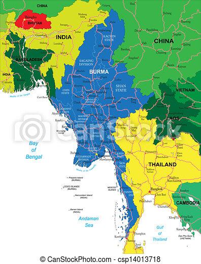 Birmanie Carte Regions.Birmanie Carte Detaille Carte Regions Hautement Vecteur