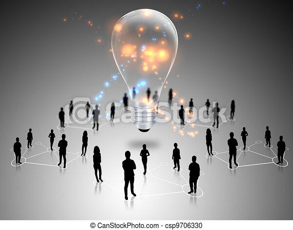 birnen, gemeinschaftsarbeit, idee, licht - csp9706330