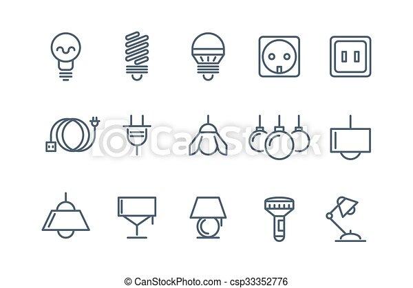 Birnen, heiligenbilder, set., symbole, lampe, vektor, elektrische ...