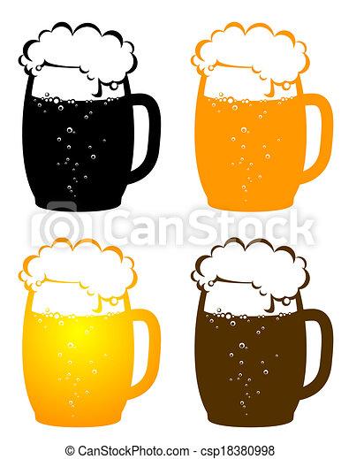 birra, tazze, bolle - csp18380998