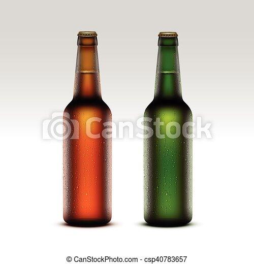 birra, verde leggero, bottiglie, etichette, vetro, isolato, marcare caldo, giallo, gocce, arancia, su, senza, vettore, marrone, chiuso, chiudere, set, acqua, gelido, trasparente, fondo, vuoto, bianco - csp40783657